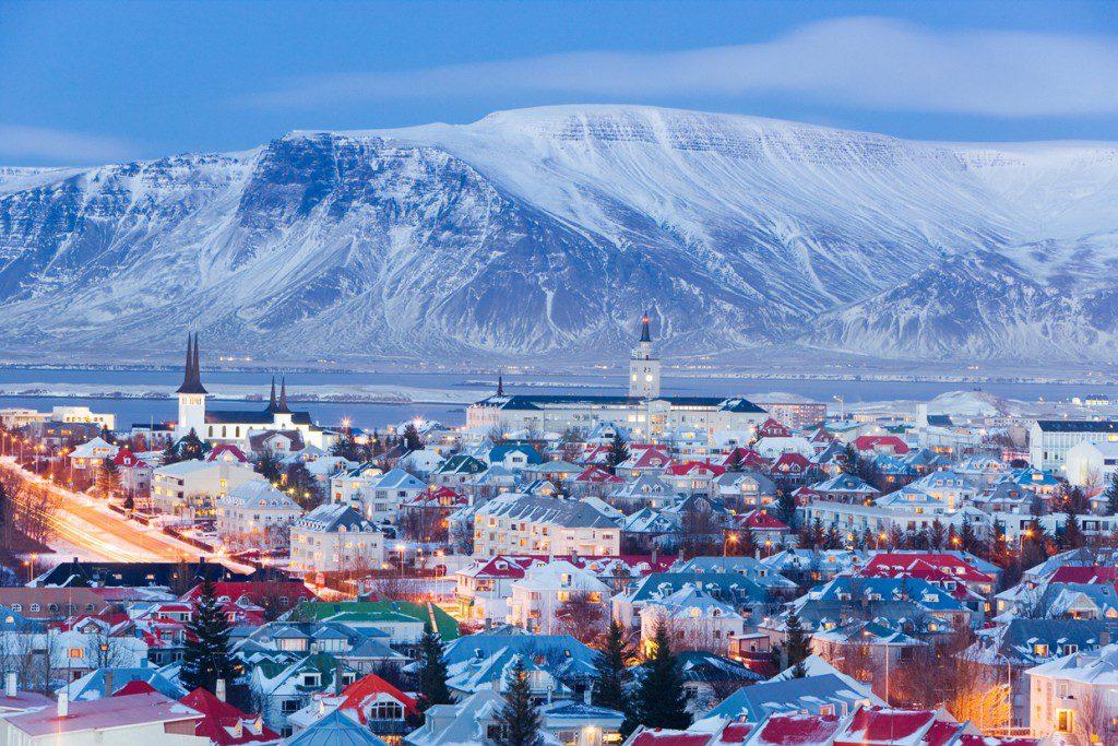 Vue panoramique de Reykjavik la capitale de l'Islande