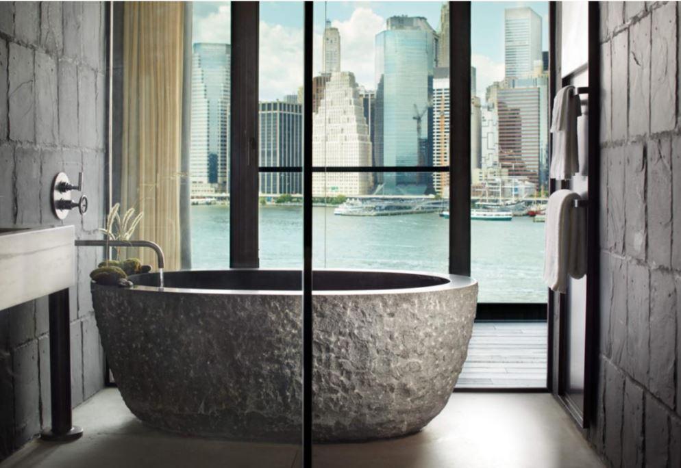 Hôtel à New York - 1 brooklyn Bridge - Baignoire vue skyline