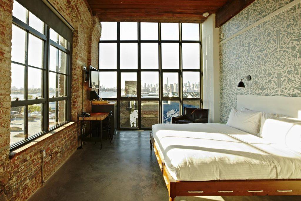 Hôtel à New York - Wythe Hotel à Brooklyn - Chambre vue skyline