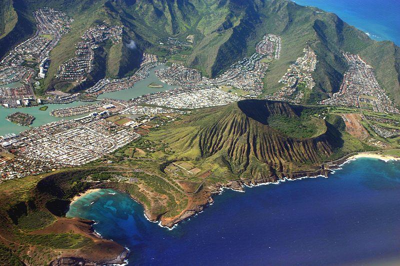 Oahu - volcan vue du ciel