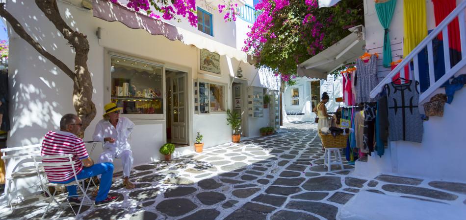 Ruelles typique dans la ville de Mykonos - Cyclades