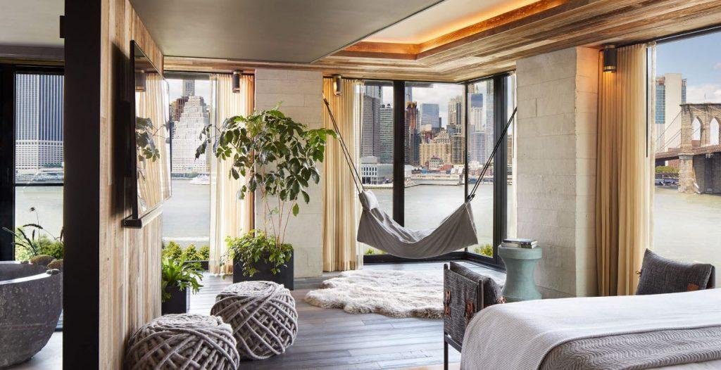 Hôtel à New York - 1 brooklyn Bridge - Chambre vue skyline