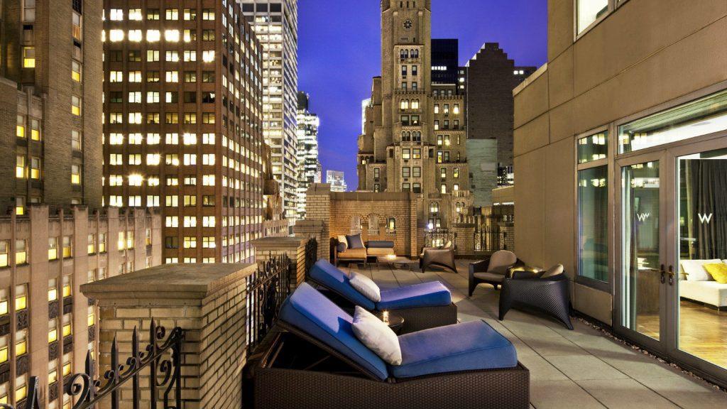 Hôtels à New York - Terrasse d'une chambre du W Hotel à New York