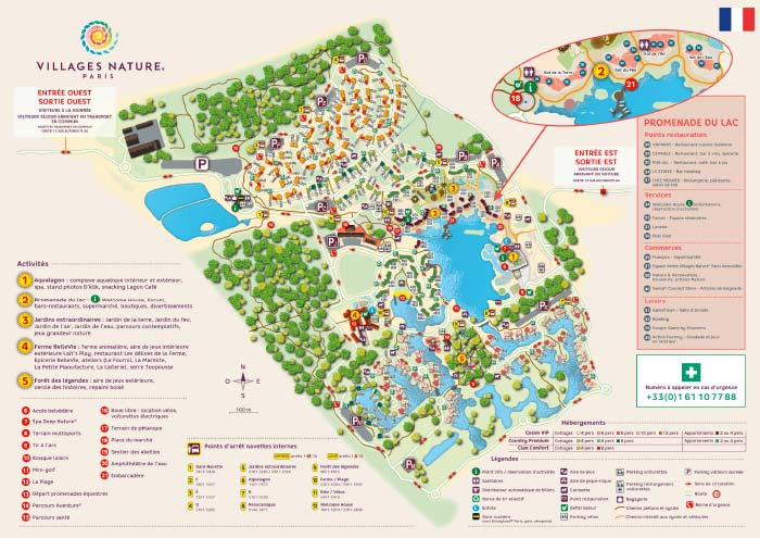 Plan du Villages Nature Paris - Center Parcs à Marne la Vallée