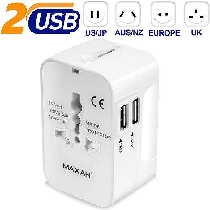 Adaptateur universel de voyage avec 2 ports USB prise Tout en un