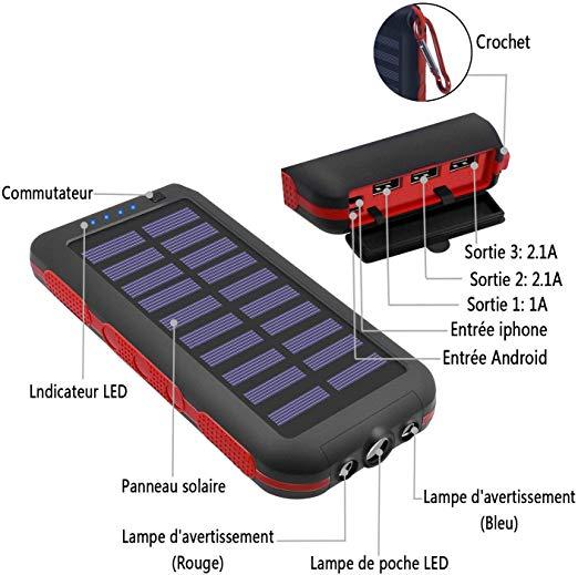 Batterie Externe Imperméable Chargeur Solaire 25000mAh avec 3 Ports de Sortie + Lampe de Poche LED